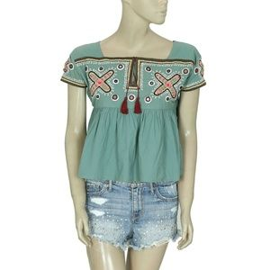Laurence Dolige Paris Mirror Embroidered Top XS